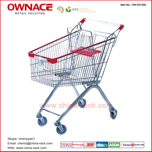 OW-EA-Series European Style Trolley Supermarket Shopping Trolley/Cart with Different Capacity