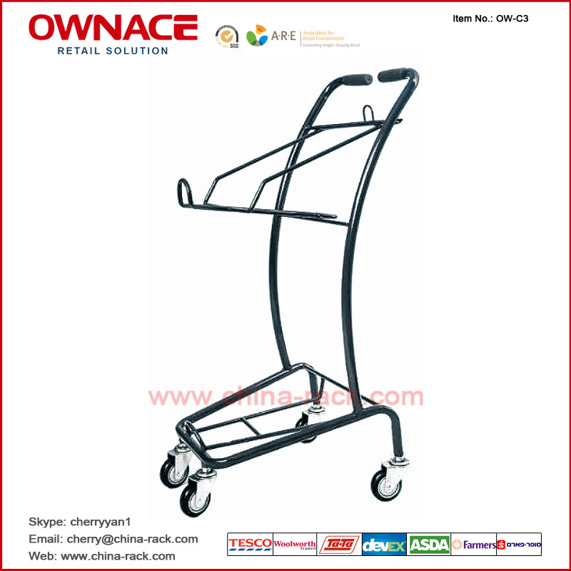 OW-C5 Layers Wire Basket Trolley Supermarket Shopping Trolley/Cart with Different Capacity
